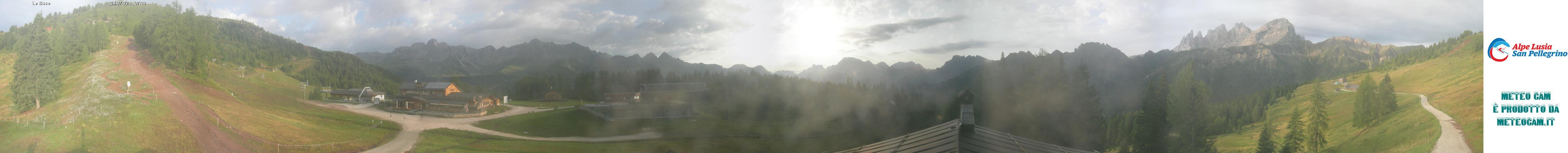 Webcam panorama realtime 360° Passo San Pellegrino - Falcade - Le Buse - Altitude: 1,883 metresArea: Le BusePanoramic viewpoint: 360°real time webcam. Panoramic view over the slopes and lifts of the Falcade ski area. View from the mountain station of the cabin lift