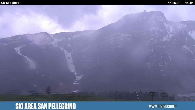 Webcam San Pellegrino Pass - Chair lift Gigante - Altitude: 2,030 metresArea: Chalet Cima UomoPanoramic viewpoint: static webcam. Slopes and lifts view overthe slopes and the lifts on San Pellegrino Pass (10 km from Moena). Costabella and Cima Uomo peaks in the background.