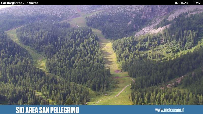 Webcam Passo San Pellegrino - Pista Le Coste - Altitudine: 2.030 metriPosizione: Chalet Cima UomoPunto Panoramico: webcam statica. Pista da sci