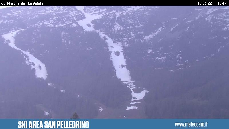 Webcam San Pellegrino Pass - Slope Le Coste - Altitude: 2,030 metresArea: Chalet Cima Uomo.Panoramic viewpoint: static webcam.Slope